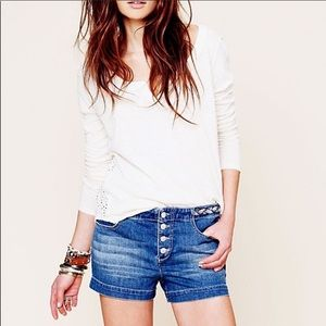 free people denim braided shorts button-fly 26